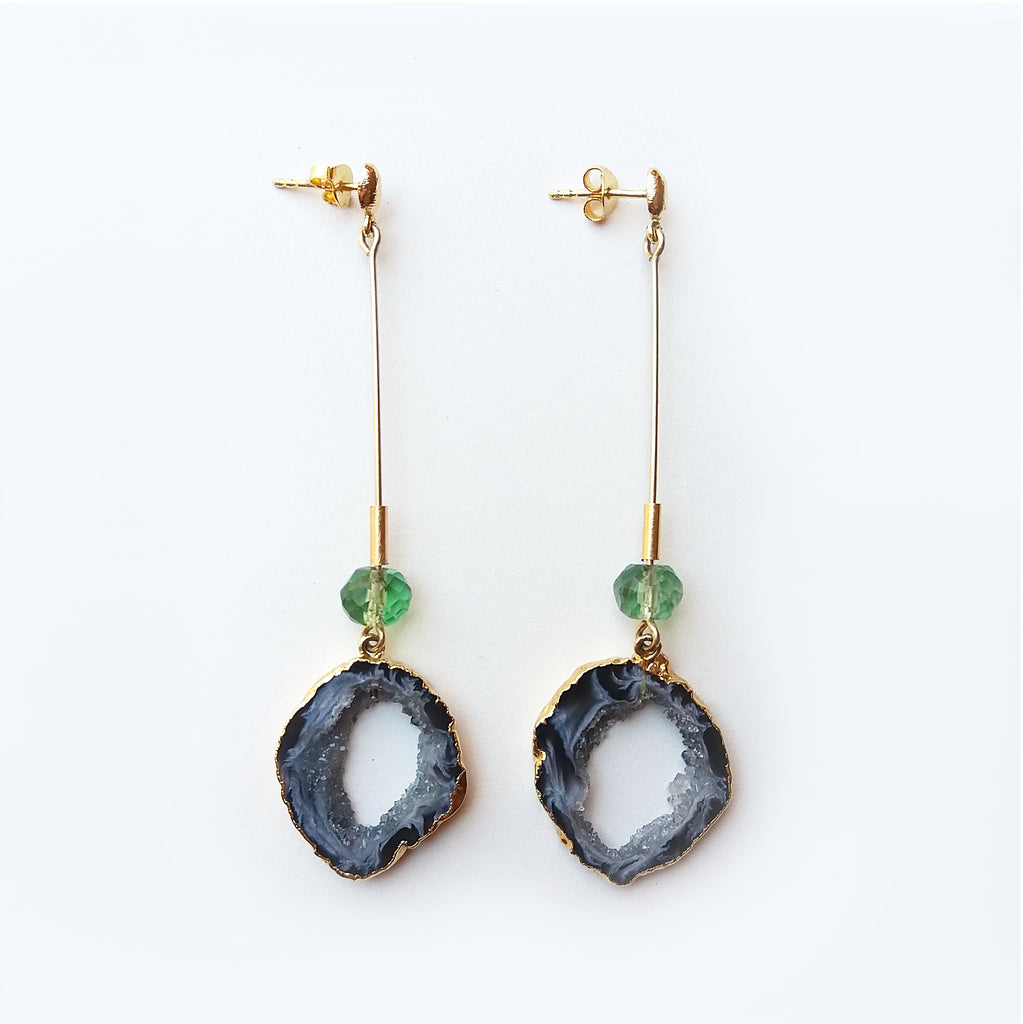 Black Geode & Fluorite Stick Earrings