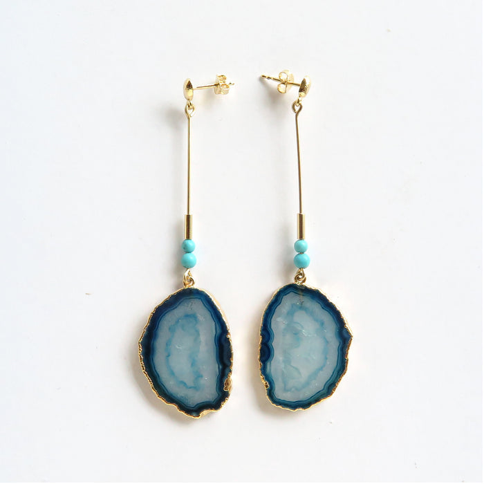 Blue Island stick earrings