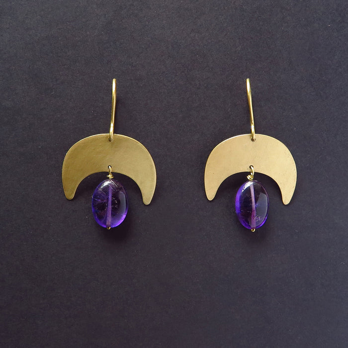 Moon earrings with Amethyst