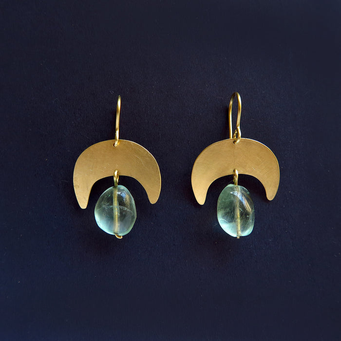 Moon Earrings with green fluorite