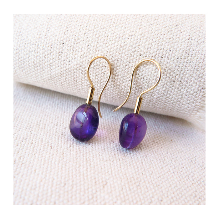 Amethyst pebble earrings