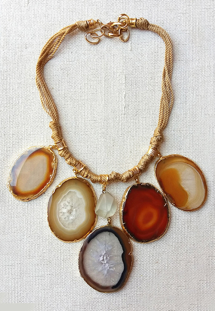Five agate Necklace in brown hues