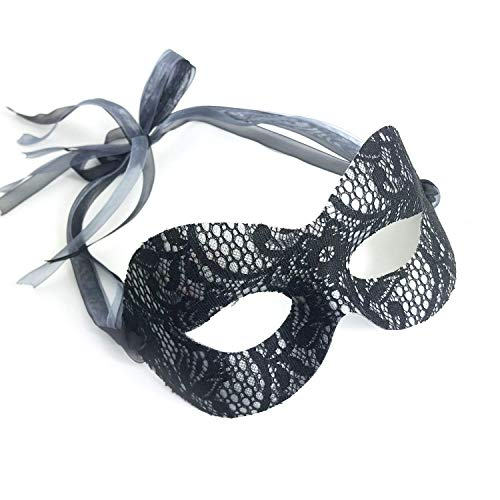 Samantha Peach Pure Lace Masquerade Mask - (Black & Silver)