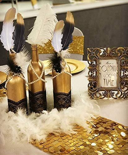 Gorgeous Black and Gold Dipped Feathers White Pearl Bead Necklaces for 1920's MasqueradeGastby Theme Table Decorations