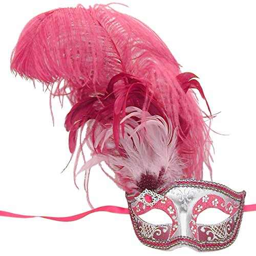 Red And Silver Can Can Feathered Venetian Masquerade Mask