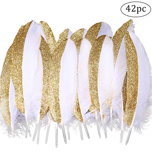 White Feathers dipped Gold  for Masquerade Party Centrepiece Decoration 42 Pcs