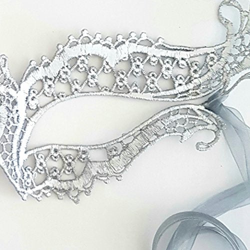 Samantha Peach Silver Lace Katherine Masquerade Mask by
