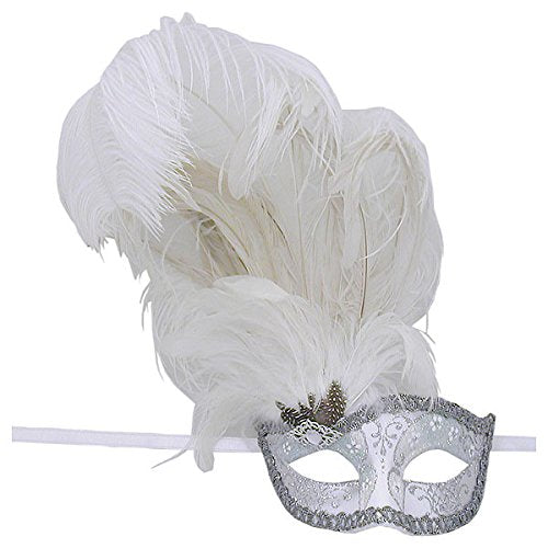 White And Silver Can Can Feathered Venetian Masquerade Mask