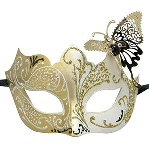 White Little Butterfly Filigree Luxury Venetian Masquerade Mask