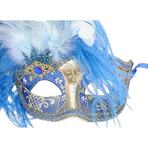 Blue And Gold Can Can Feathered Venetian Masquerade Mask