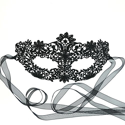 Samantha Peach Genuine Black Coachella Lace Masquerade Mask
