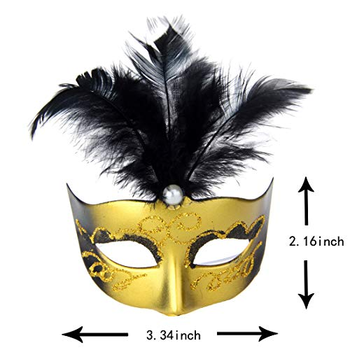 Mini Miniature Masquerade Masks Party Decorations - Black & Gold Feathers