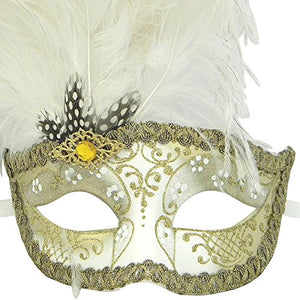 White And Gold Can Can Feathered Venetian Masquerade Mask