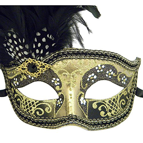 Black And Gold Can Can Feathered Venetian Masquerade Mask