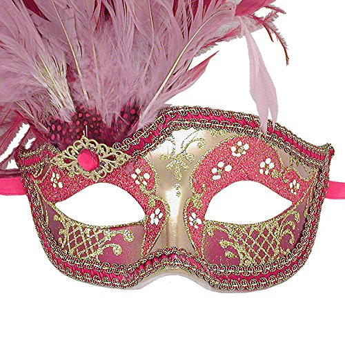 Red And Gold Can Can Feathered Venetian Masquerade Mask
