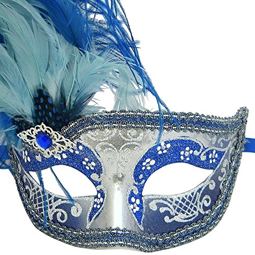 Blue And Silver Can Can Feathered Venetian Masquerade Mask