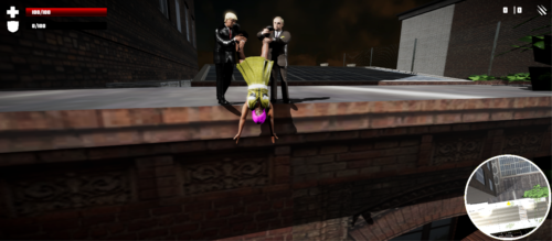 "Donald Trump and Vladimir Putin dangle a lesbian ""radical"" over a rooftop in Jesus Strikes Back: Judgement Day. Screenshot"