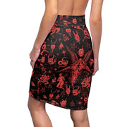 Red Baphomet Pencil Skirt