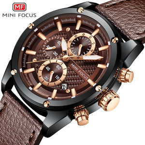 ORIGINAL MINIFOCUS BRAND GENTS BROWN BLACK HIGH QUALITY CHRONOGRAPH QUARTZ WATCH