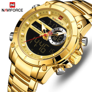 Original NAVIFORCE MENS NF-9163-MG Stainless Steel Mens Best Selling Quartz Watch
