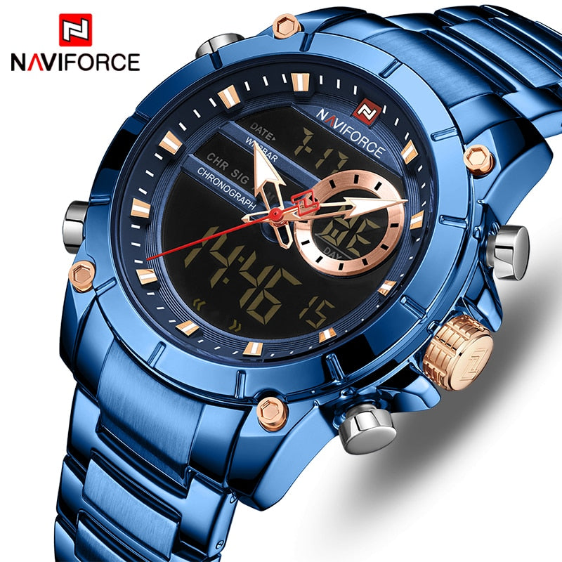 Original NAVIFORCE MENS 9163MBL Stainless Steel Mens Best Selling Quartz Watch