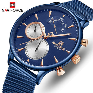 Original NAVIFORCE MENS NF-3010-MBL Exclusive Royall Blue Stainless Steel Mens Best Selling Quartz DAY DATE Watch
