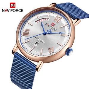 Original NAVIFORCE MENS 3006-MBLW Stainless Steel Mens Best Selling Quartz Watch