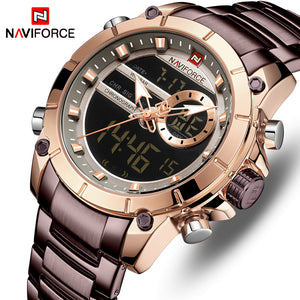 Original NAVIFORCE MENS DIGITAL + ANALOG NF-9163-MBRG Stainless Steel Mens Best Selling Quartz Watch