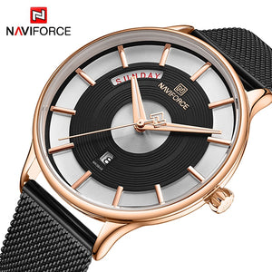 Original NAVIFORCE MENS 3007-MBG Stainless Steel Mens Best Selling Quartz Watch