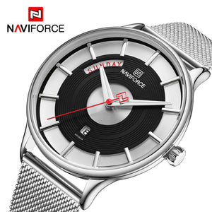 Original NAVIFORCE MENS EXCLUSIVE ANALOG DAY DATE Stainless Steel Mens Best Selling Quartz Watch