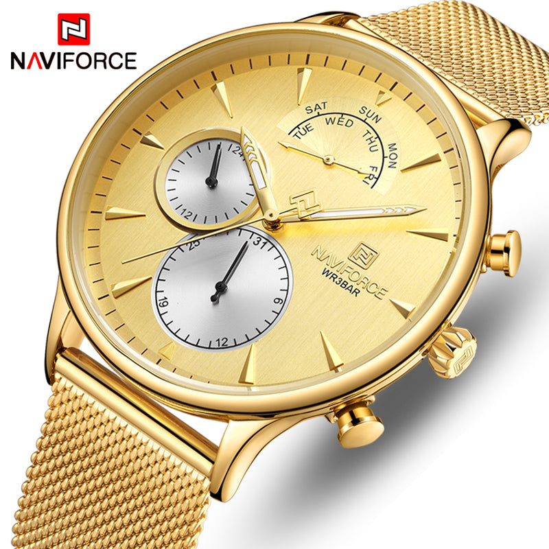 Original Naviforce Mens ANALOG DAY DATE MENS NF-3010-MG Stainless Steel Latest Model Watch