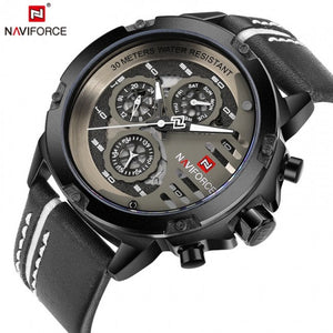 Original NAVIFORCE Mens Sport Chronometer Day Date Quartz Watch NF-9110M