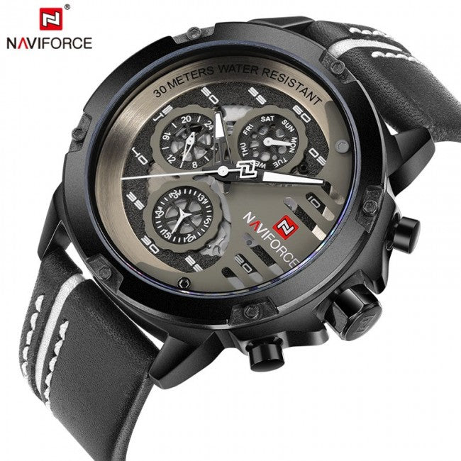 Original NAVIFORCE Mens Sport Chronometer Day Date Quartz Watch