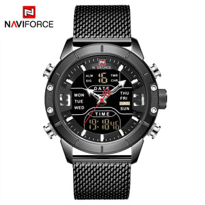 Original NAVIFORCE MENS NF-9153-MB Stainless Steel Mens Best Selling Quartz Watch