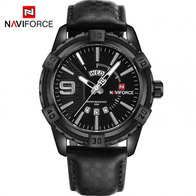 NAVIFORCE Mens Analog DAY DATE Stainless Steel Quartz NF-9117M