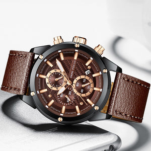 CLEARANCE SALE ORIGINAL MINIFOCUS BRAND GENTS BROWN BLACK HIGH QUALITY CHRONOGRAPH QUARTZ WATCH