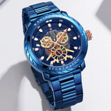 Original NAVIFORCE MENS ANALOG DAY DATE EXCLUSIVE ROYAL BLUE NF-9158-MBL Stainless Steel Mens Best Selling Quartz Watch