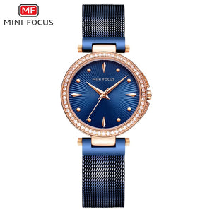 Original MINIFOCUS Fashion Quartz Women's Watch (BLUE/GOLD)