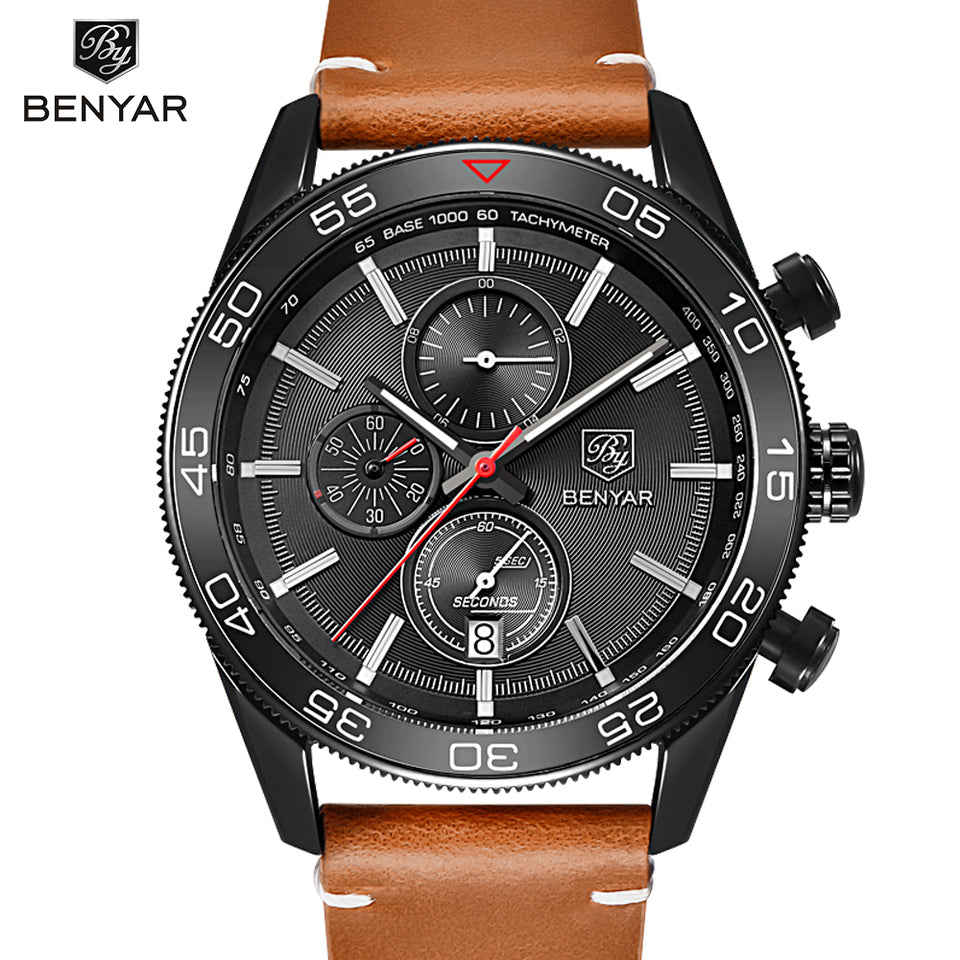 BENYAR ARMY MILITARY LEATHER SPORT WATCH