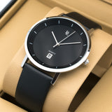 Original Delawrance ULTRA SLIM Mens Silver black Best Selling Classic Quartz Watch DL-249