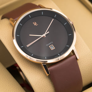 Original Delawrance ULTRA SLIM Mens Rose Gold Best Selling Classic Quartz Watch DL-247