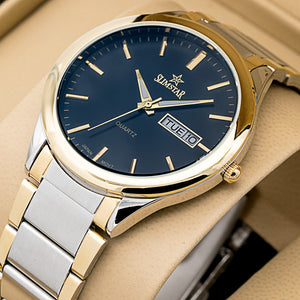 Original Slim Star Mens Best Selling Classic DAY DATE 2 ToneLuminious Quartz Watch Sl-204
