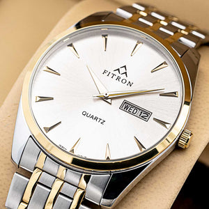 FITRON Slim FT-205 Ultra High Quality Day Date Classic Watch with Japanese  Quartz Movement