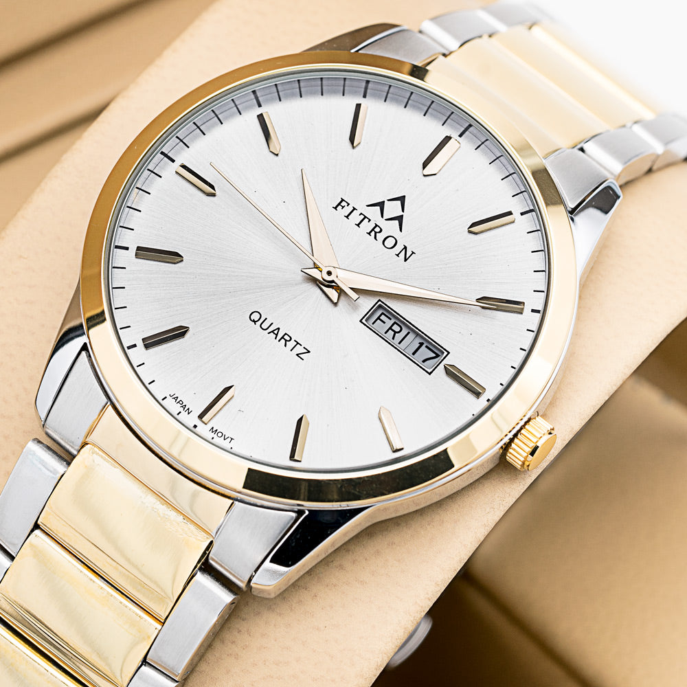 Original FITRON Slim Ultra High Quality Day Date Classic Watch with Japanese  Quartz Movement