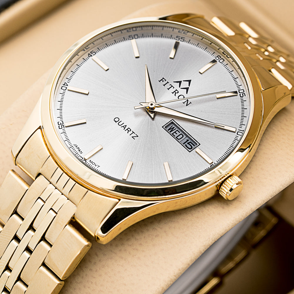 Original FITRON 222 Slim Ultra High Quality Day Date Classic Watch with Japanese  Quartz Movement