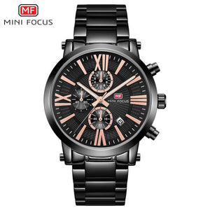 ORIGINAL MINIFOCUS BRAND GENTS QUARTZ CHRONOGRAPH HIGH QUALITY WATCH (BLACK)WATCH