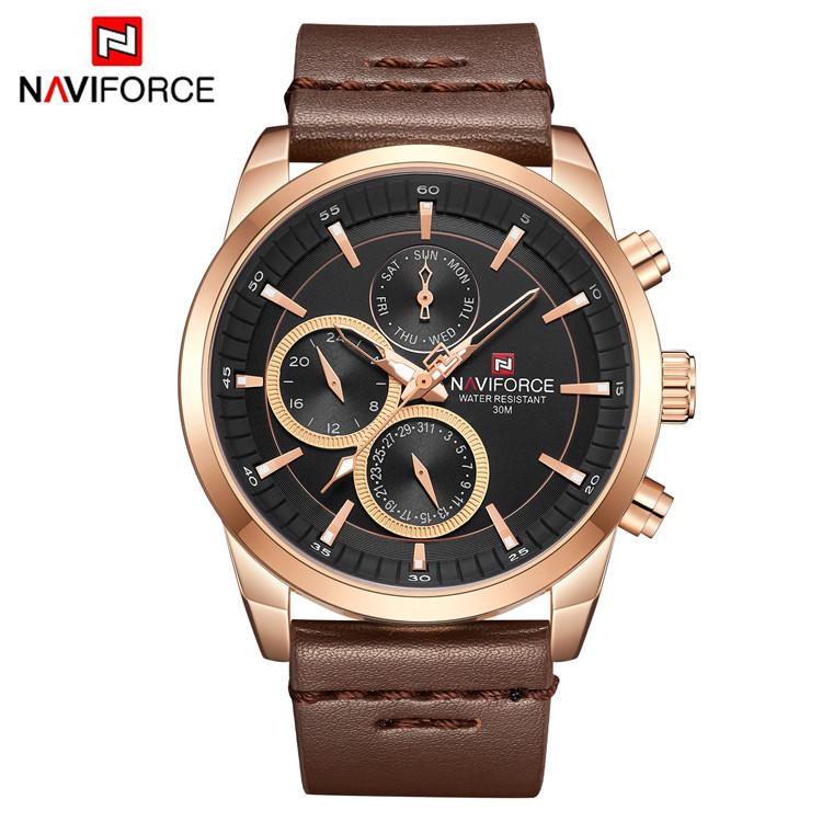 ORIGINAL NAVIFORCE MENS 9148MBR STAINLESS STEEL MENS BEST SELLING ANALOG DAY DATE WATCH