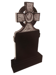 Granite Headstone- Celtic Cross Top - Antique Carving