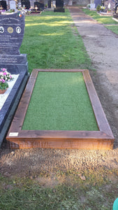 Wooden Grave Surround with artificial grass