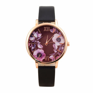 Elegant Watch Women with Leather Wristwatch